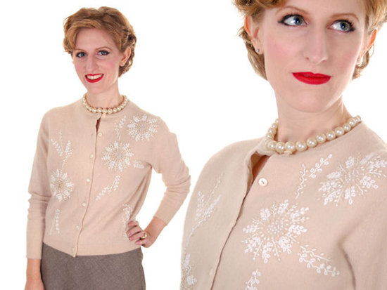 VINTAGE TAUPE CASHMERE BEADED CARDIGAN SWEATER 1950S