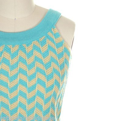 VINTAGE LADIES SWEATER TANK STYLE 1960S BLUE YELLOW WOOL KNIT
