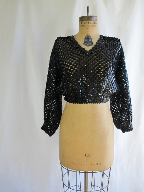 1970s 1980s Vintage Black Sequins Cropped Sweater Top