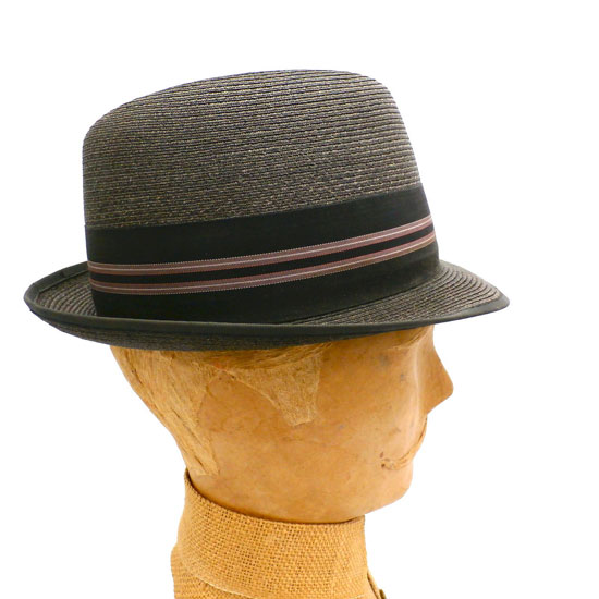 VINTAGE MENS BROWN STRAW HAT WORMSER STINGY BRIM FEDORA 1960S