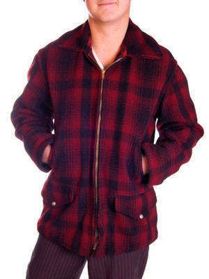 VINTAGE MENS BUFFALO PLAID ZIP JACKET RED BLACK 1940S