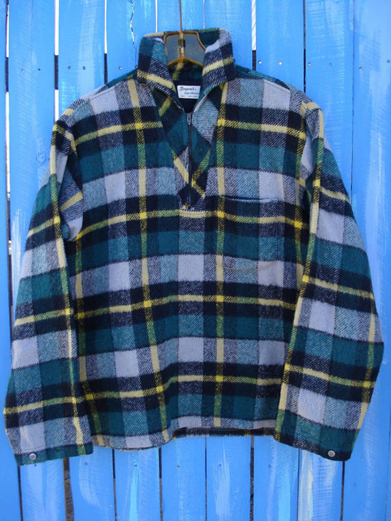 Vintage 1950s Surf Shirt Plaid Pullover