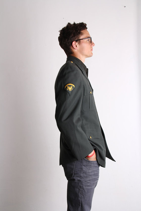 Army Green Men's Blazer . 1960s Vintage