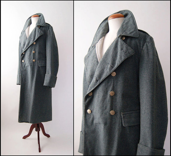 Vintage Swiss Military Wool Great Coat