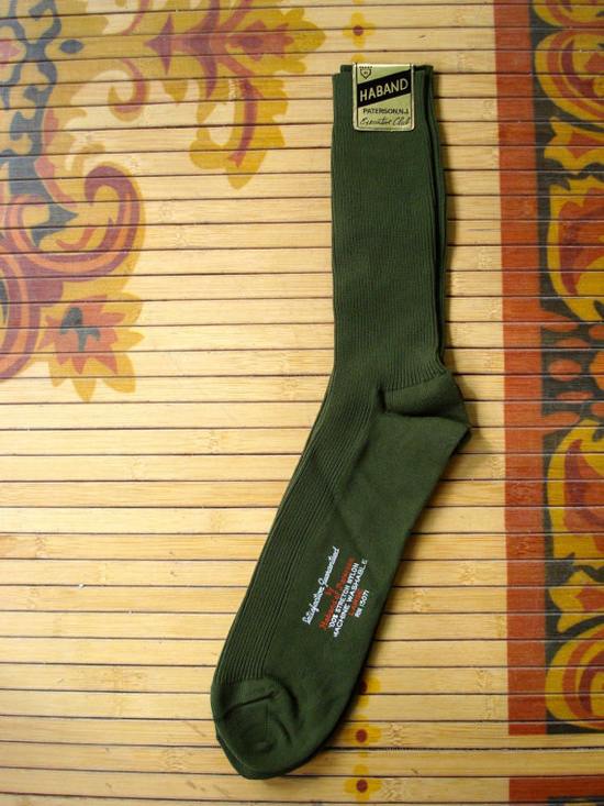 Vintage 1960s Mens Dress Socks Olive Green