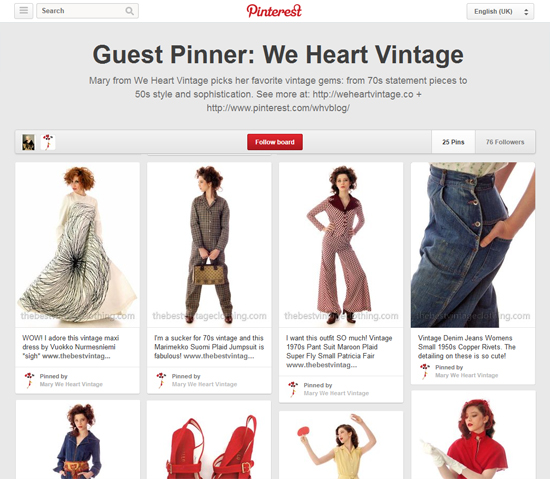 Pinterest board Vintage fashion