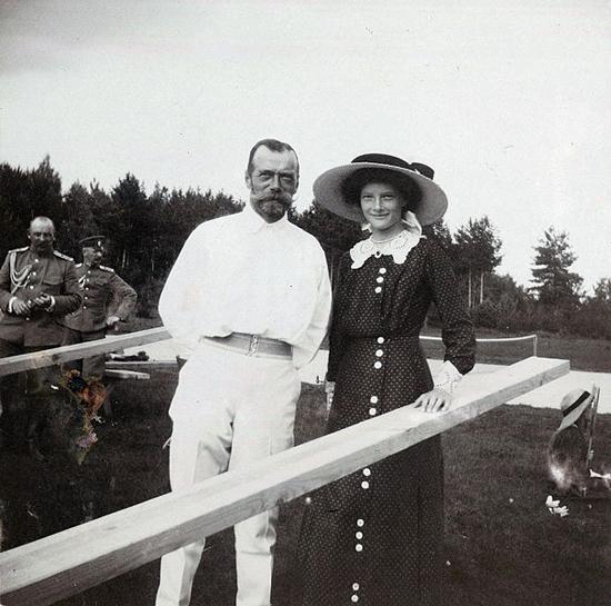 Tsar Nicholas II of Russia with his daughter Grand Duchess Tatiana Nikolaevna of Russia at Finnish archipelago, Imperial tennis park Virolahti.