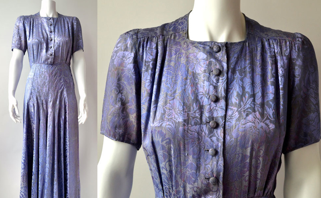 40s lavender blue evening dress in metallic satin damask