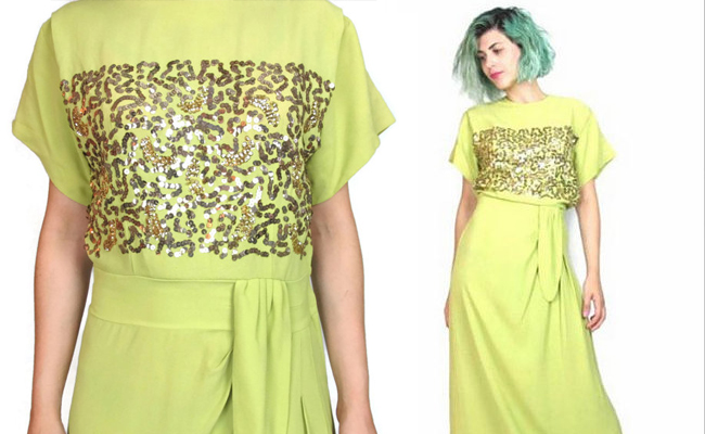 Vintage 1940s Evening Gown Gold Sequin Dress Crepe Draped 40s Dress Chartreuse
