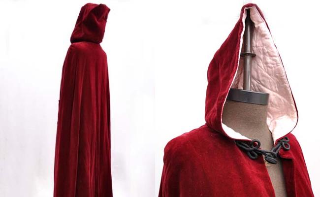 Vintage 1960s Red Riding Hood Velvet Cape