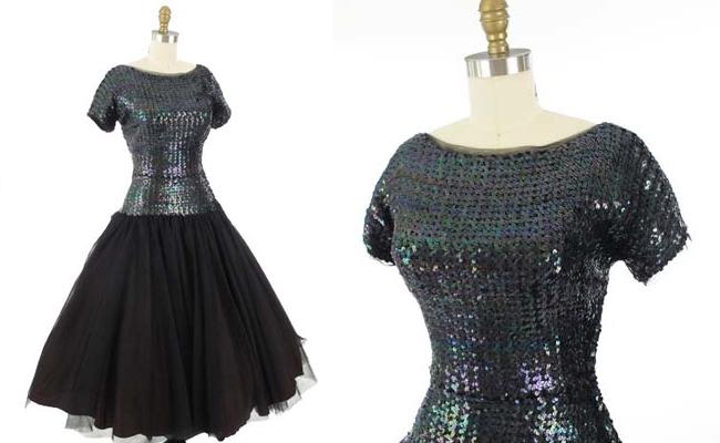 50's Larry Aldrich Black Sequin Tulle Full Skirt Evening Dress