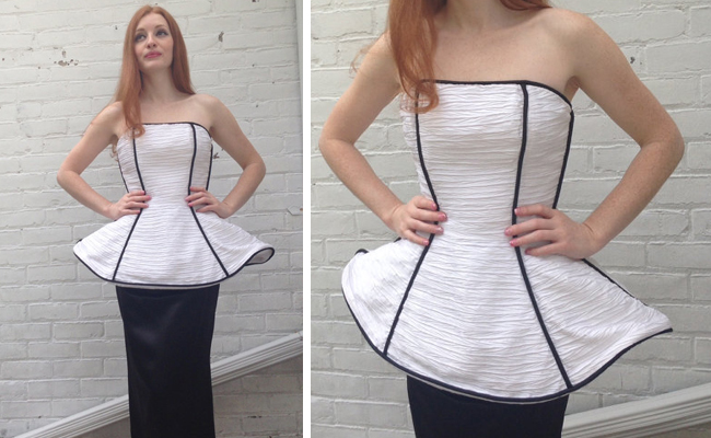 1980s VIntage Victor Costa White Black Formal Sculpted Gown