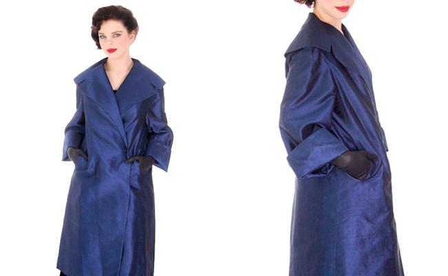 Vintage Silk Swing Coat Sapphire Blue La Palliere Paris France 1950s