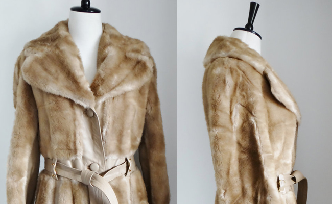 Fabulous Vintage Faux Fur and Real Leather Coat with Tie Belt