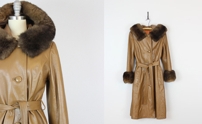 1970s fur collar leather coat