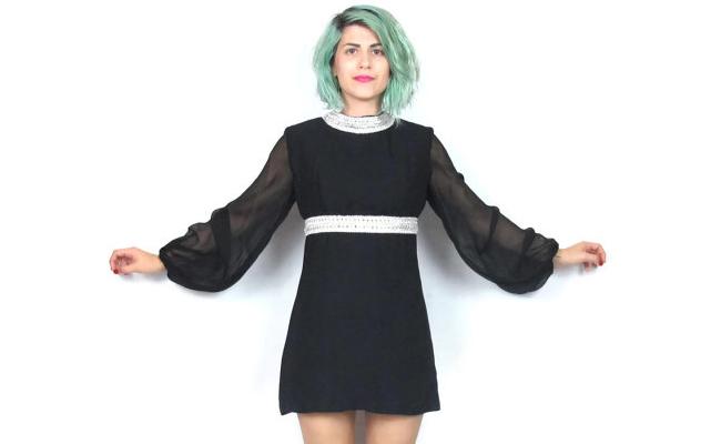 1960s Sheer Black Mini Dress Long Sleeves Party Dress
