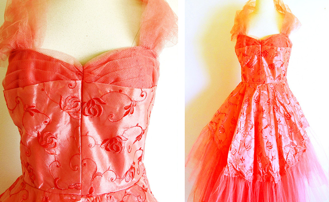 1950's Coral Tea Length Party Dress,