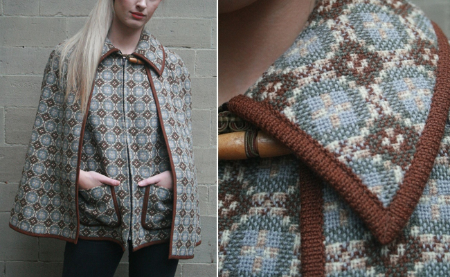 1960s two piece Welsh tweed tapestry waistcoat and cape