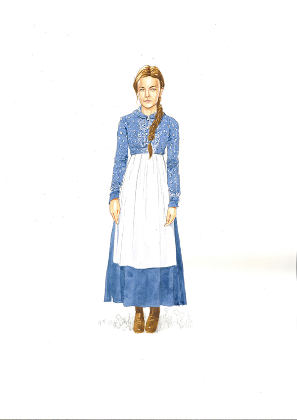 Costume design for Carey Mulligan as Bathsheba Everdene
