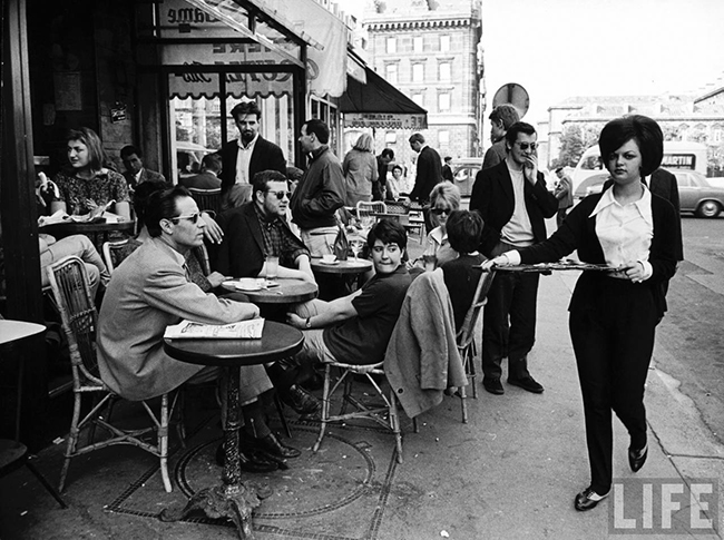 Parisians at a pavement cafe 1960s
