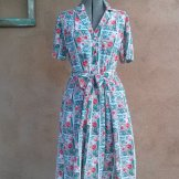 Vintage 1980s Dress Tulips Windmills