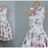 Floral Print Halter Dress with Big Bow- Vintage 1950s Betty Barclay
