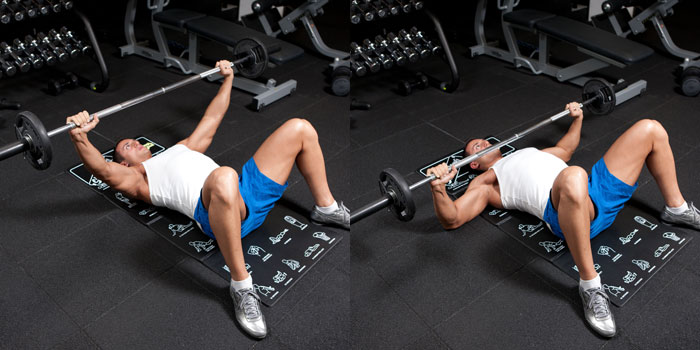 Floor Bench Press Wide Grip Weight Training Exercises 4 You