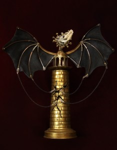 Tower, 2012, 8x9x4 in. Antique jewelrey and findings, brass, bone, glove leather, chains, glass eyes