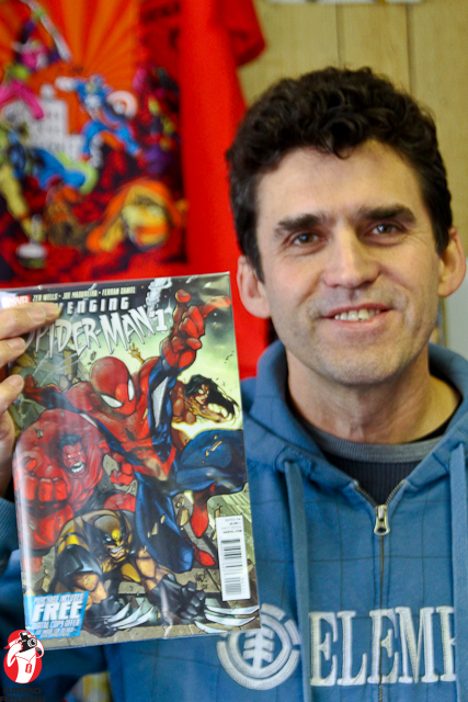 Dan showing off the Spiderman issue he reviewed.