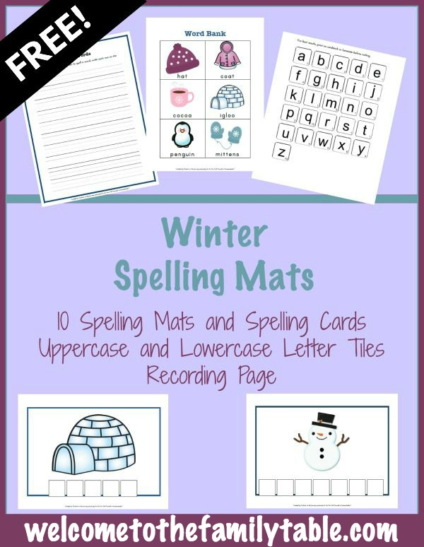 FREE Printable Winter Spelling Mats - Welcome to the Family Table™