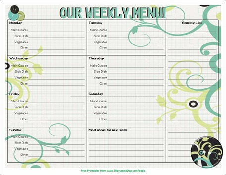20 Free Menu Planner Printables - Welcome to the Family Table™ - menu planner template printable