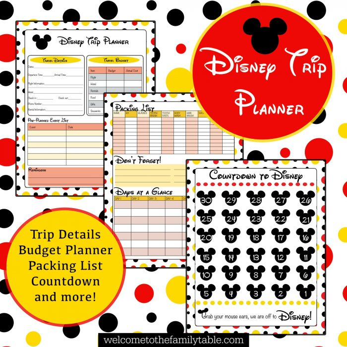 Printable Disney Vacation Planner - Welcome to the Family Table™
