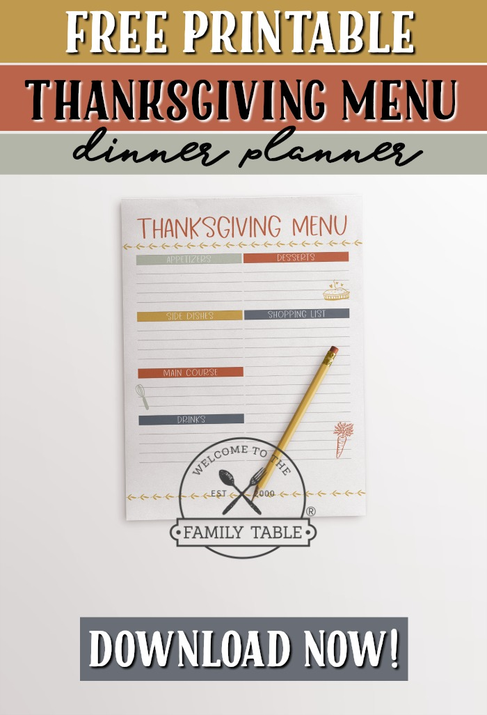 Free Printable Thanksgiving Dinner Planner - Welcome to the Family