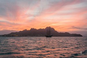 Sunset in Cape Verde with a big sailing boat