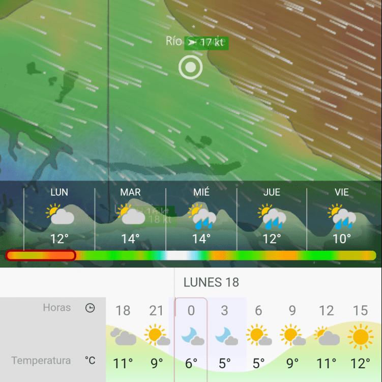 Screenshot of the windy cycling app