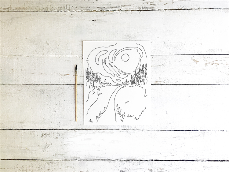 Free Starry Night Printable Adult Van Gogh Style Coloring Sheet