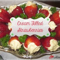 4th of July Party Food Recipe-Easy Cream Filled Strawberries