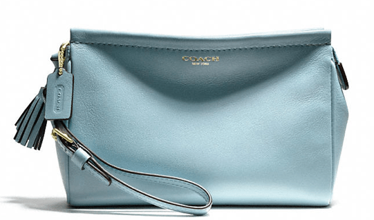 Coach Heritage Wristlet in Sky leather $108