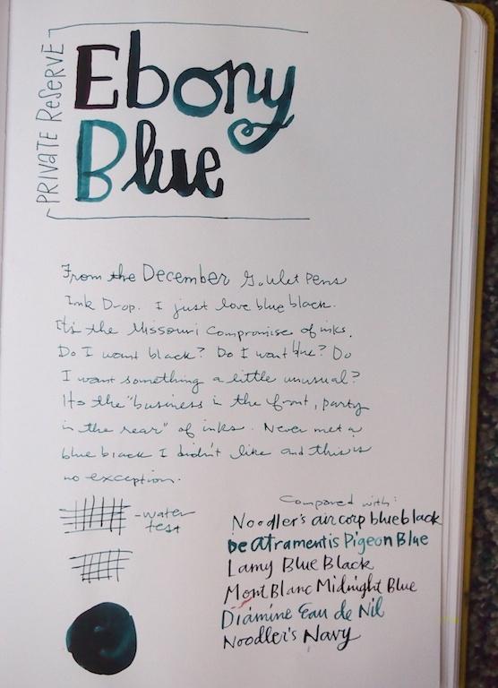 Private Reserve Ebony Blue writing sample