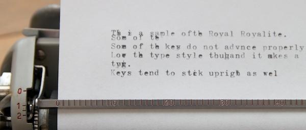 Royal Royalite Typing sample