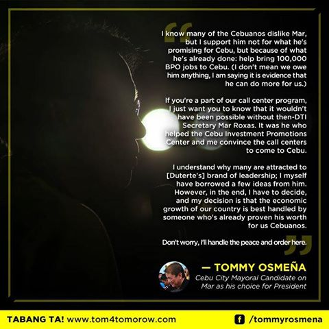 Mayor Tom Supports Mar Roxas – Here's Why According to the Mayor