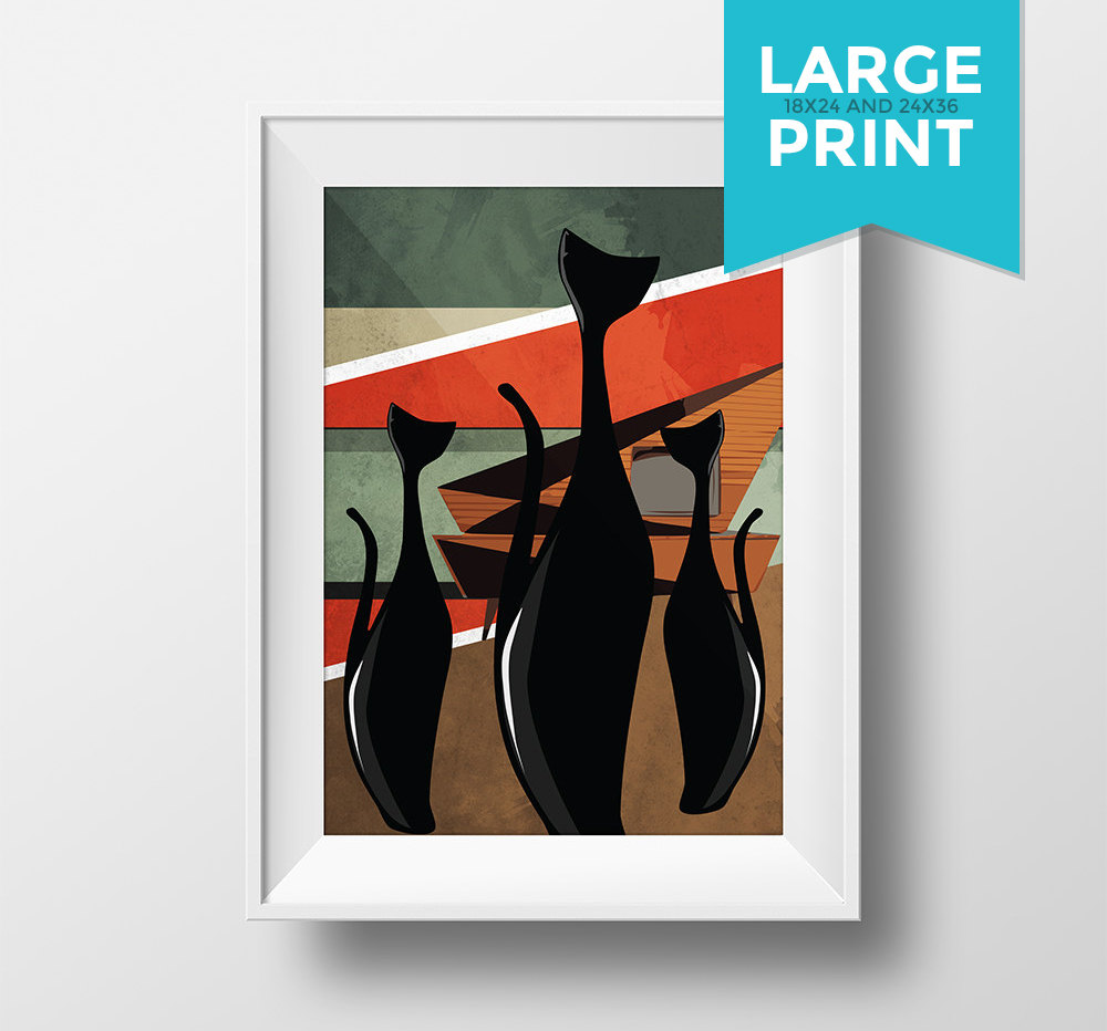 Abstract Art Prints On Canvas Mid Century Modern Print Cat Abstract Art Print Large Poster Giclee On Satin Or Cotton Canvas Wall Decor