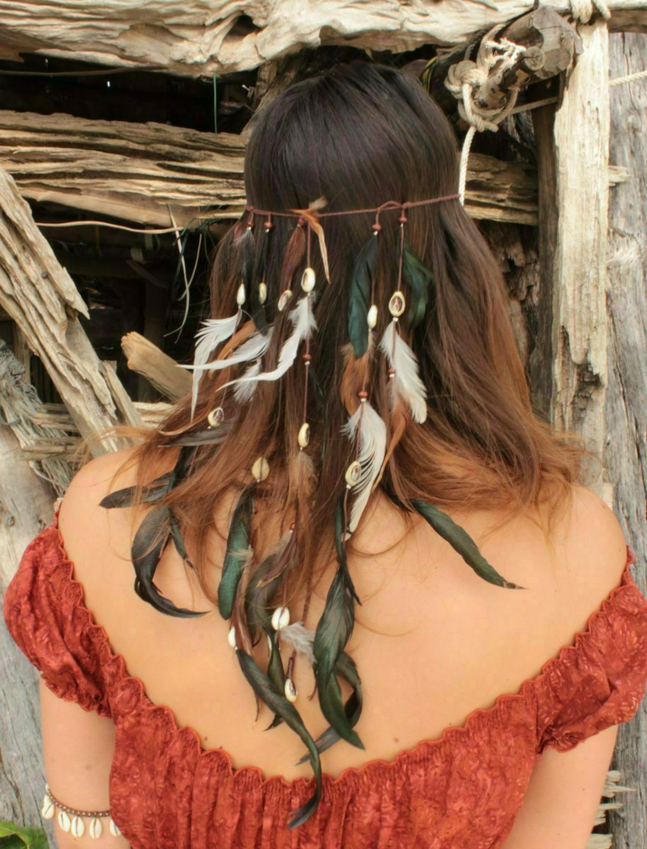 Haarband Braun Hippie Feathers Headband