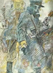 zwei französische Grenadiere mit Gasmasken