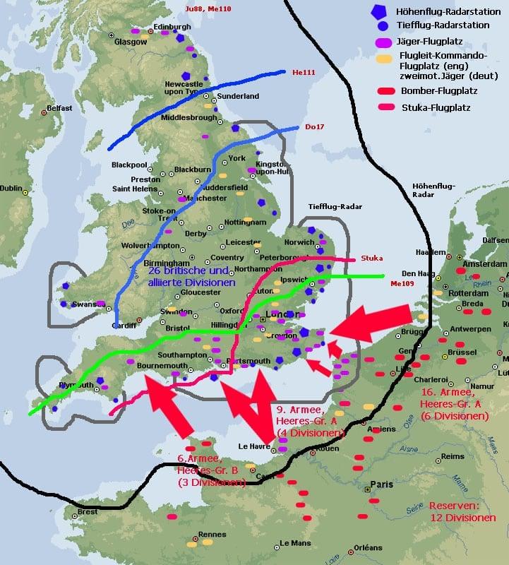 Karte von der Schlacht um England