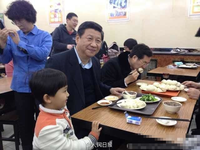 Chinese President Xi Jingping at a steamed bun resturant