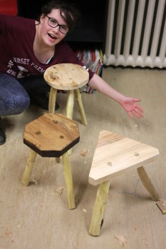 Three finished stools