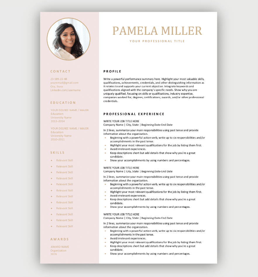 modern resume word template free download