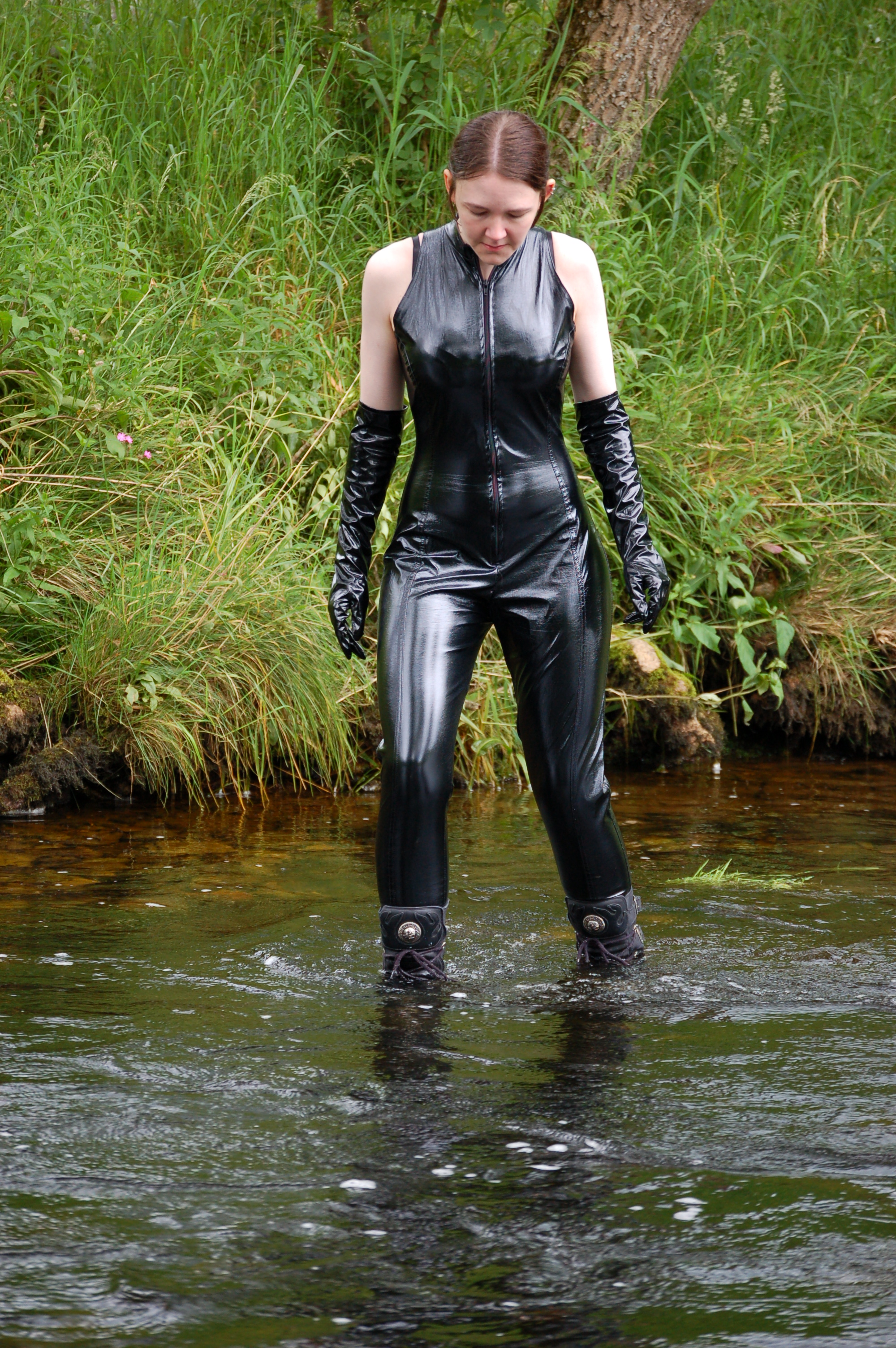 Lounge Outdoor Pvc And Boots In The River! - Chastity Takes An Outdoor