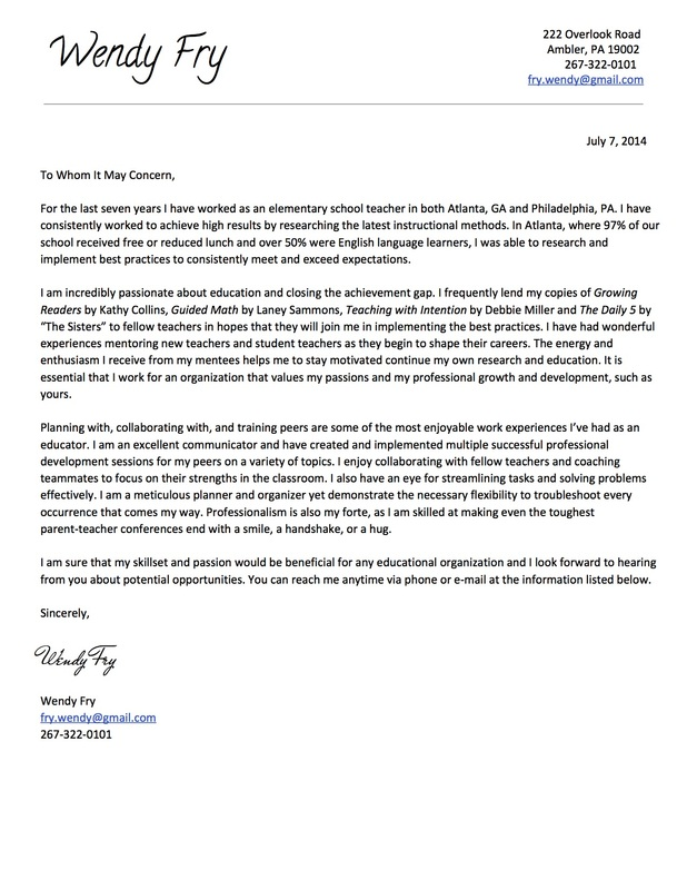 Cover Letter - Wendy Fry\u0027s Teaching Portfolio